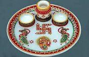 marble puja thali (handicraft)