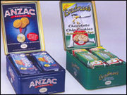 WANTED ANZAC & Bradman Unibic Biscuit Gift tins issued in 2003