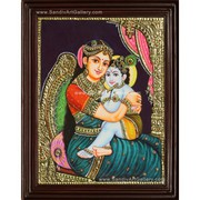 Baby Krishna with Yasotha Tanjore Painting for Sale