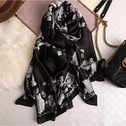 Buy Black Flower Pattern Designer Silk Stoles with cheap prices online